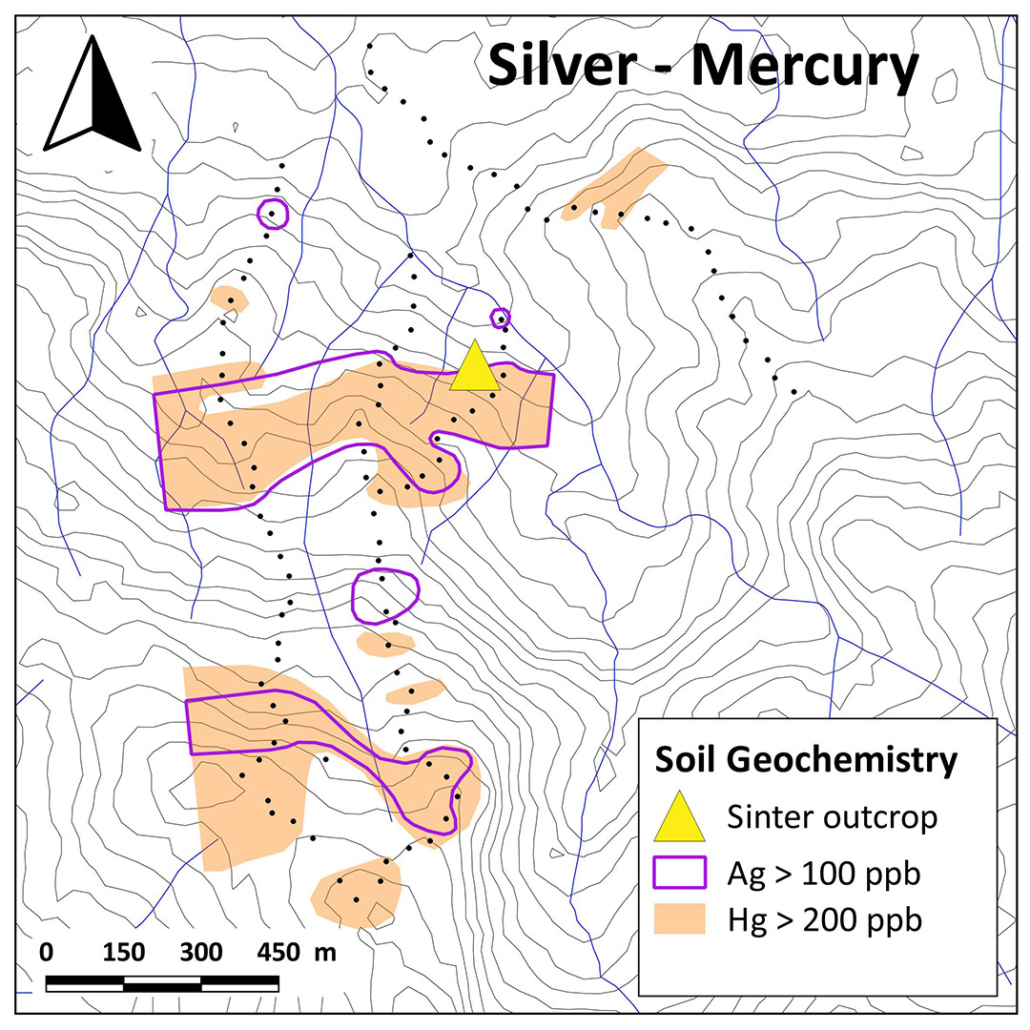 Aurania Resources Yawi Soil Anomaly Ag vs Hg