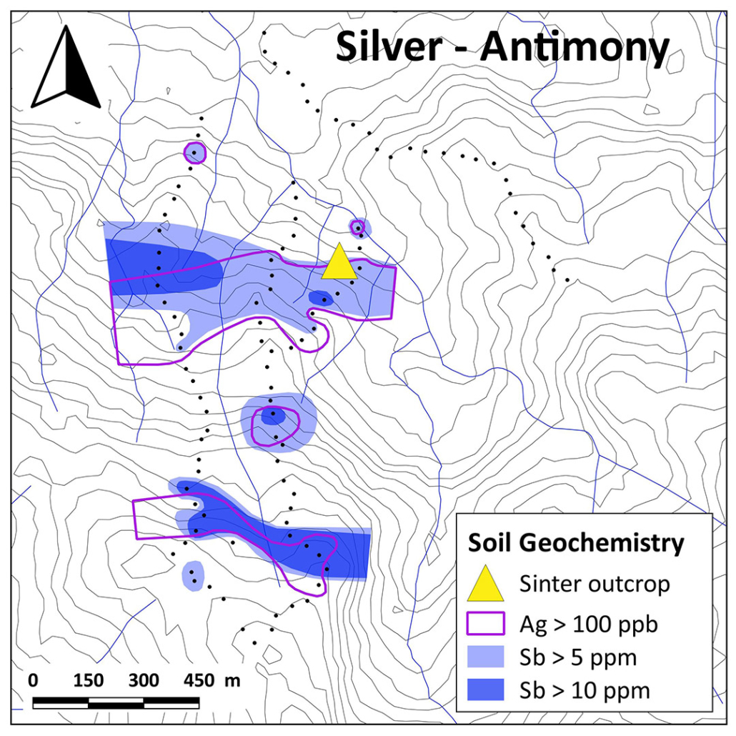 Aurania Resources Yawi Soil Anomaly Ag vs Sb