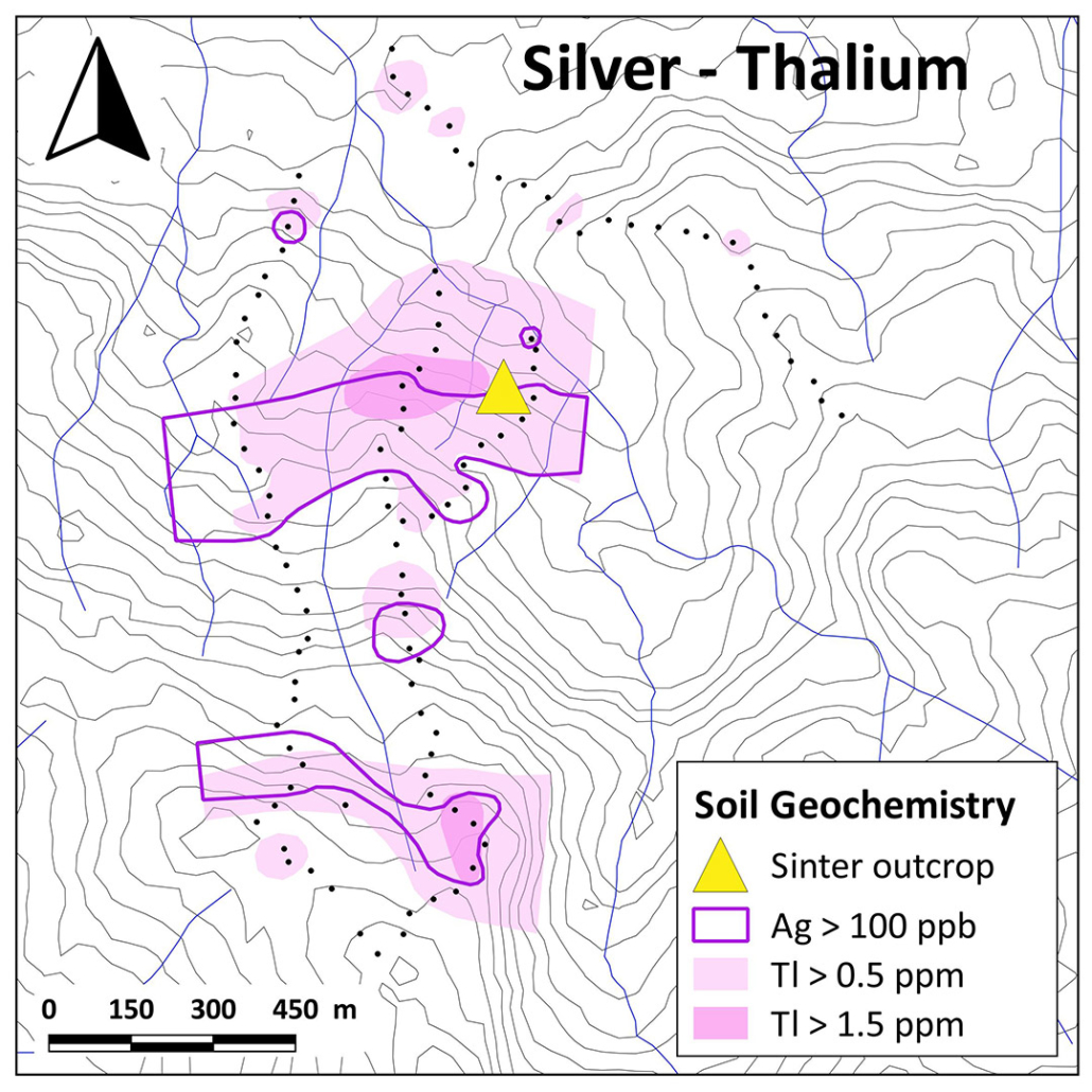 Aurania Resources Yawi Soil Anomaly Ag vs Tl