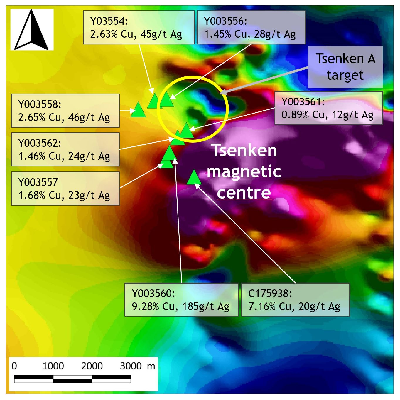 Map of magnetic data from the Tsenken target showing the location of the high-grade rock samples.