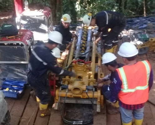 Drill rig at Yawi gold target