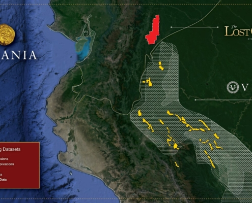 Map showing mineral concession applications in Peru