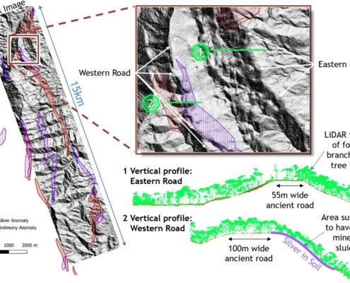 LiDAR image showing the features that are interpreted to be the ancient eastern and western roads relative to the location of the Tiria-Shimpia target as defined by metal enrichment in soil.